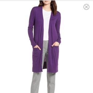 Halogen Nordstrom Purple Linen Blend Cardigan